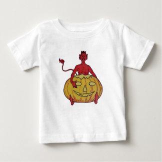The Devil & His Pumpkin (Vintage Halloween Card) Baby T-Shirt