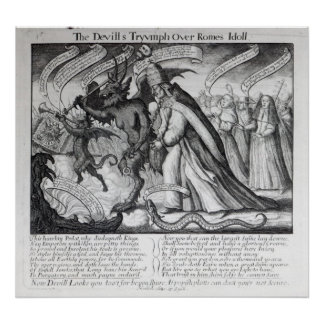 The Devil leading the Pope in Chains 1680 Poster