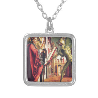 The Devil Offers the Book of Vices to Saint Square Pendant Necklace