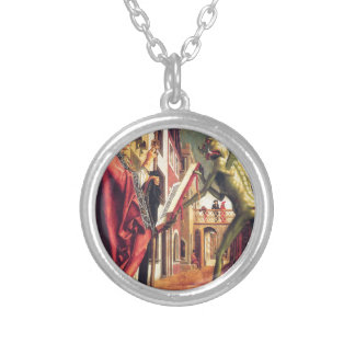 The Devil Offers the Book of Vices to Saint Round Pendant Necklace