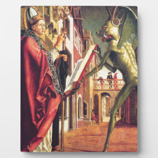 The Devil Offers the Book of Vices to Saint Plaque