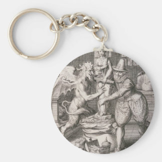 The Devil Sets a Statue of Chance on His Sack of Basic Round Button Keychain
