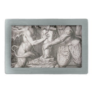 The Devil Sets a Statue of Chance on His Sack of Rectangular Belt Buckle