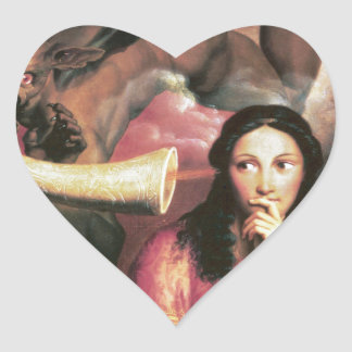 The Devil Tempting a Young Woman Heart Sticker