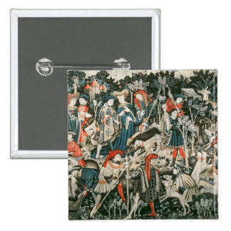 The Devonshire Hunting Tapestries 2 Inch Square Button