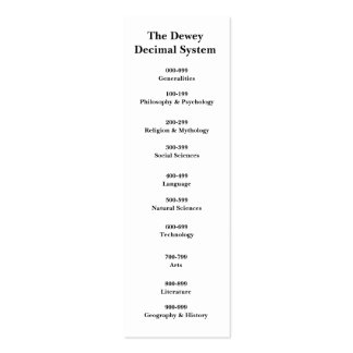 The Dewey Decimal System Bookmark Double-Sided Mini Business Cards (Pack Of 20)