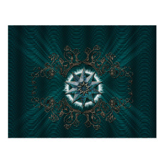The diamond in blue with floral elements postcard