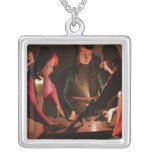 The Dice Players Square Pendant Necklace