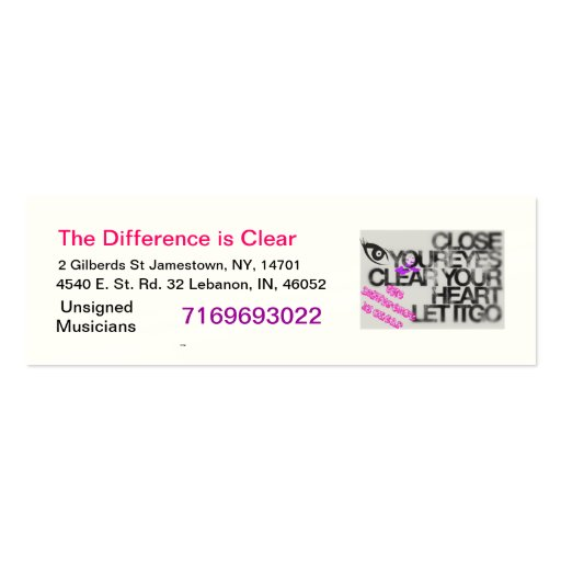 The Difference is Clear Business Cards