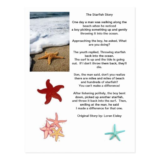 The difference of one starfish story postcard zazzle for Star fish story
