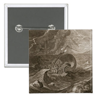 The Dioscuri Protect a Ship, 1731 (engraving) 2 Inch Square Button