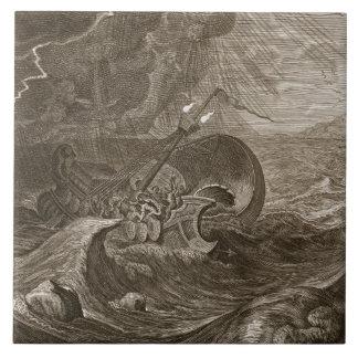 The Dioscuri Protect a Ship, 1731 (engraving) Ceramic Tile