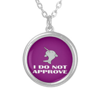 The disapproving Narwhal Round Pendant Necklace