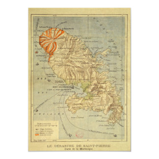 The Disaster of Saint Pierre Map of Martinique Card