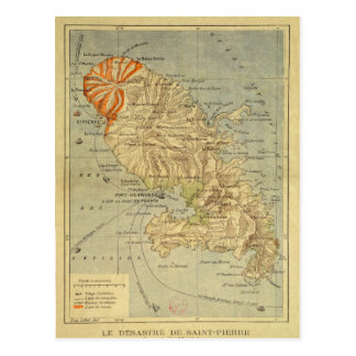 The Disaster of Saint Pierre Map of Martinique Post Cards