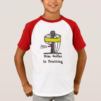 The Disc Golfer in training kids shirt