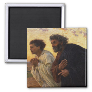 The Disciples Peter and John Running 2 Inch Square Magnet