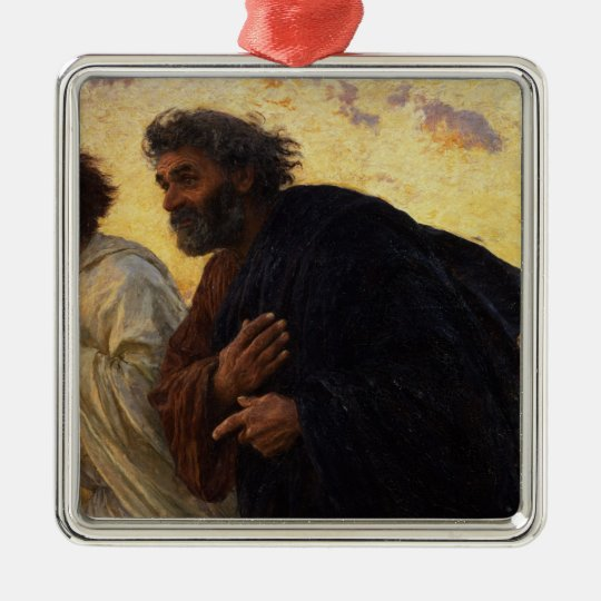 The Disciples Peter and John Running Metal Ornament