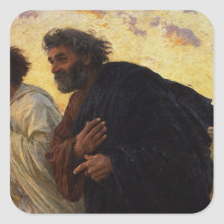 The Disciples Peter and John Running Square Sticker