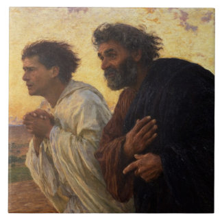 The Disciples Peter and John Running Tile