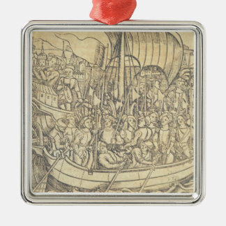 The Discovery of the New World by Chrisopher Colum Metal Ornament