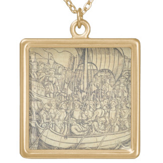 The Discovery of the New World by Chrisopher Colum Square Pendant Necklace