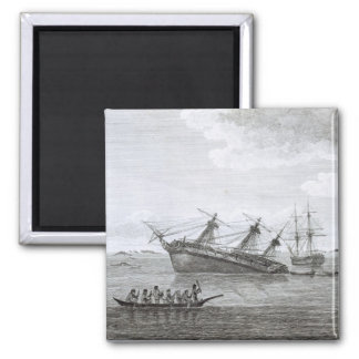 The Discovery on the Rocks in Queen Charlotte's So 2 Inch Square Magnet