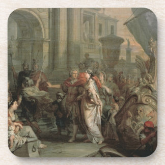 The Disembarkation of Cleopatra at Tarsus (oil on Coasters