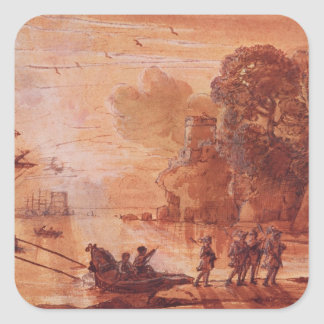 The Disembarkation of Warriors in a Port Square Sticker