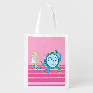The Dish Ran Away With The Spoon Funny Cartoon Reusable Grocery Bag