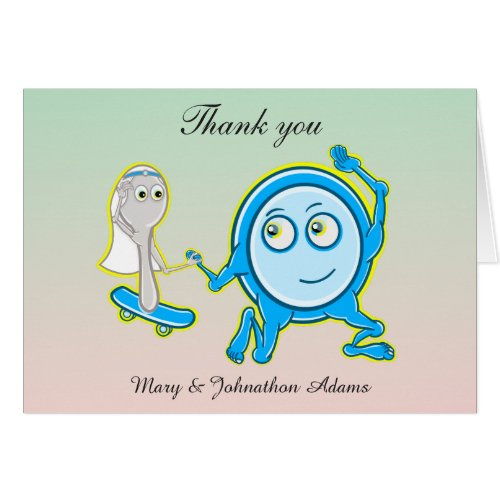 The dish Ran Away With The Spoon Wedding Thank you Greeting Card