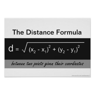 The Distance Formula Math Poster