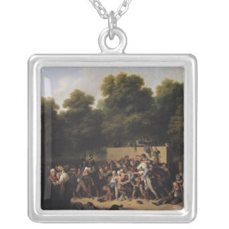 The Distribution of Food and Wine Square Pendant Necklace