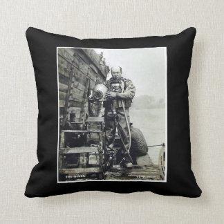 The Diver Vintage Hard Hat Deep Sea Diver Scuba Throw Pillow