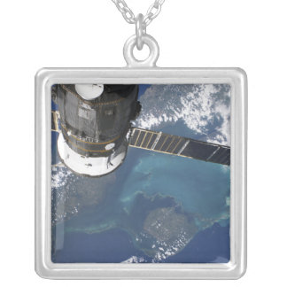 The docked Progress 22 spacecraft Square Pendant Necklace