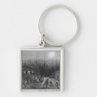 The Docks Night Scene Silver-Colored Square Keychain