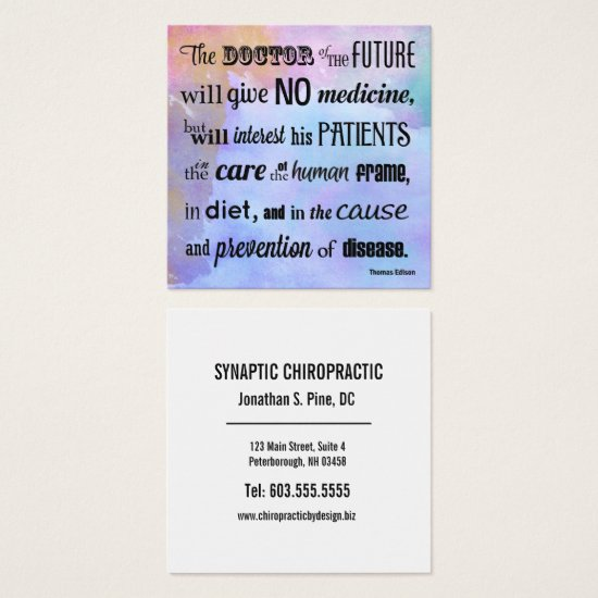 The Doctor of the Future Watercolor Chiropractic Square Business Card
