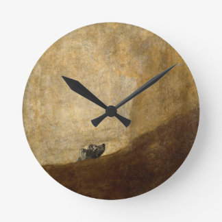 The Dog (Black Paintings) by Francisco Goya 1820 Round Wall Clocks