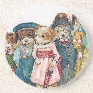 """The Dog Family"" Vintage Beverage Coasters"