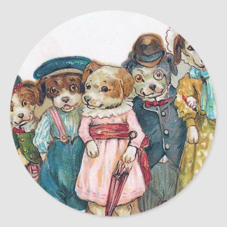"""The Dog Family"" Vintage Classic Round Sticker"
