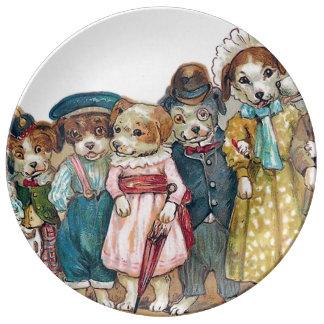 The Dog Family Vintage Illustration Porcelain Plate