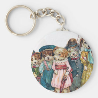 """The Dog Family"" Vintage Keychain"
