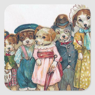 """The Dog Family"" Vintage Square Sticker"