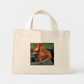 The dog in the car mini tote bag