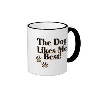 The Dog Likes Me Best Ringer Coffee Mug