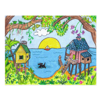 The dog paddle post card