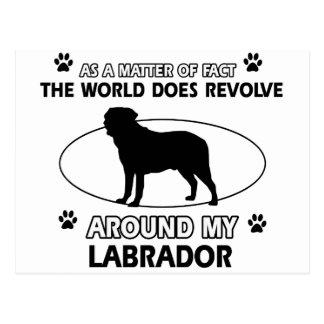 The dog revolves around my labrador postcard