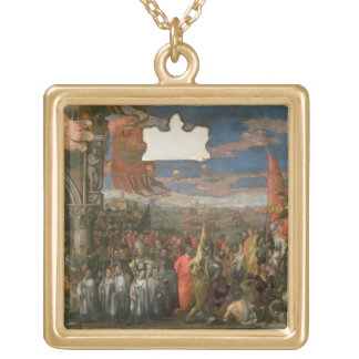 The Doge Andrea Contarini Returning Victorious fro Square Pendant Necklace