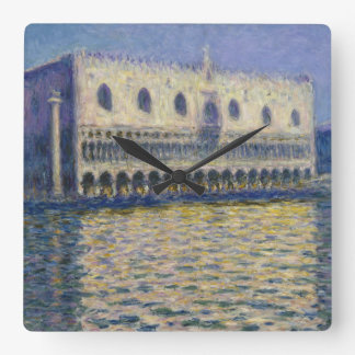 The Doges Palace (Le Palais Ducal) by Claude Monet Square Wall Clock