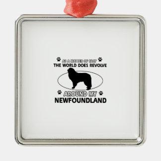 The dogs revolve around my newfounland metal ornament
